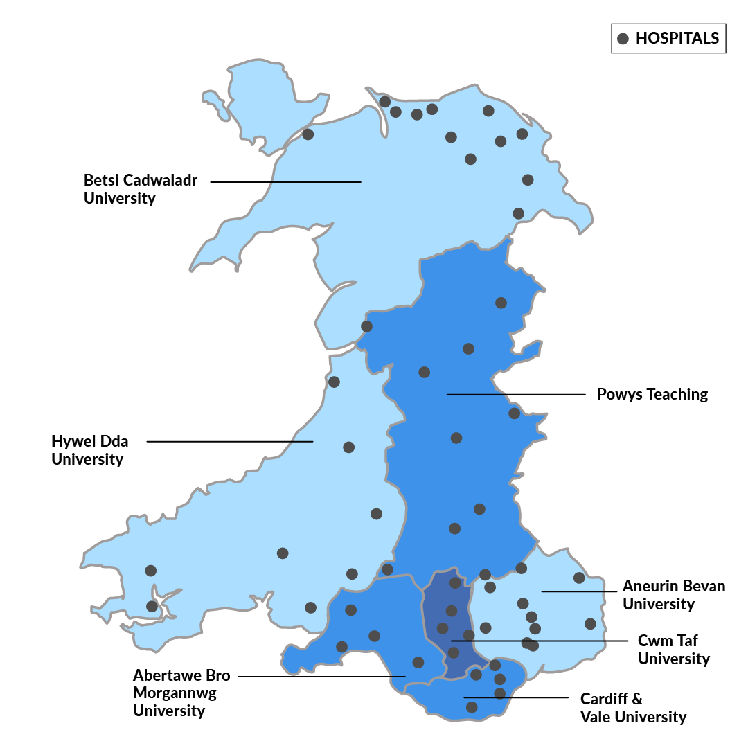 Map Of Uk Hospitals.Health Boards And Hospitals In Wales Richmond Nursing Agency Ltd